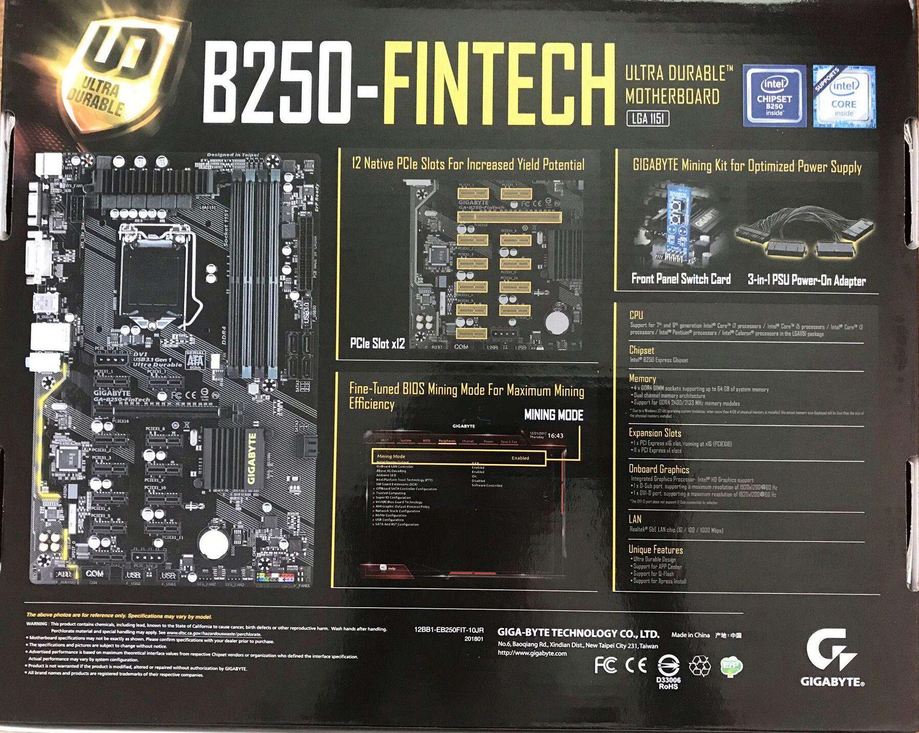 Фото платы Gigabyte GA-B250-FinTech